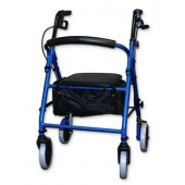 Blue Soft Seat Aluminum Rollator with Curved Back