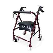 Burgundy Soft Seat Aluminum Rollator with Straight Backrest