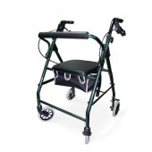 Green Soft Seat Aluminum Rollator with Straight Backrest