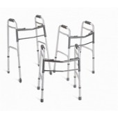 "Medline Two Button Folding Walkers with 5"" Wheels"
